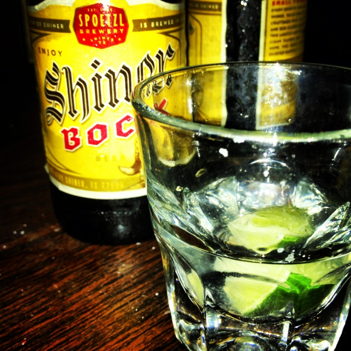 Shiner Bock and a tequila & lime back. Continental Club, Austin