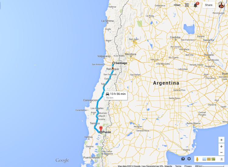 Santiago to Pucon