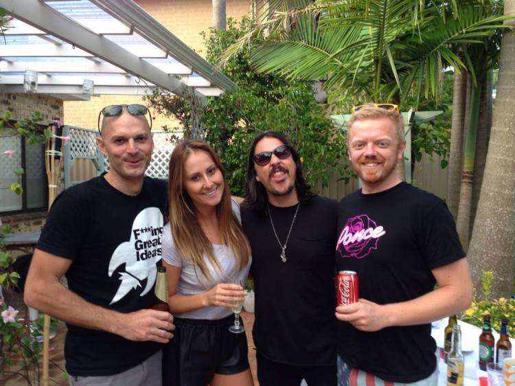 Co-founders of La Mascara alcohol brand Nate Debritt, Ben Gillies (Silverchair) and Jackie Gillies (Real Housewives of Melbourne).