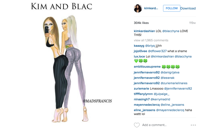 Kim Kardashian features the work of Australian illustrative fashion blogger & influencer, Mads Francis.