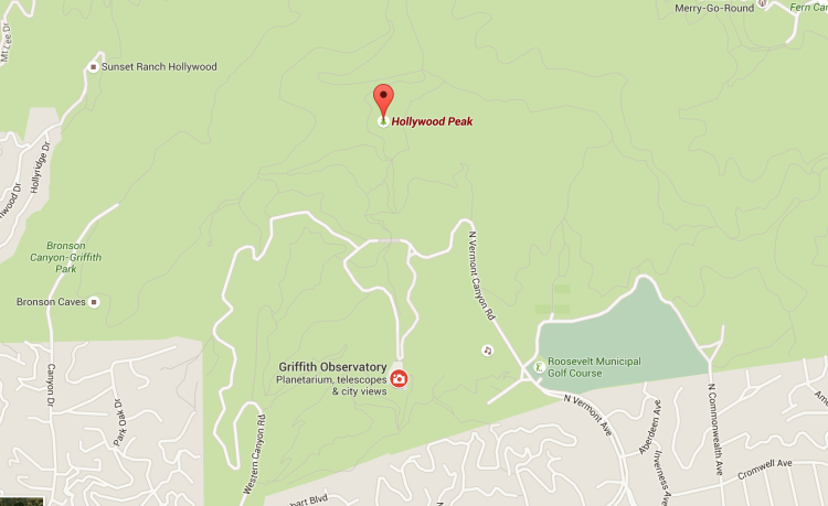 Map to Griffith Park Observatory and Hollywood Peak.