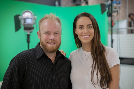 Lauren Vickers joins Dan Wilkinson (Hot & Delicious: Rocks The Planet!) at Macleay College in Sydney. Photo: Ian Thompson.