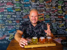 @hotndelicious at Black Hops Brewery. That moment you realise your $14 St Vinnies shirt is a chalkboard!