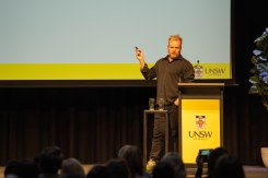 Dan Wilkinson, speaker and strategist, at UNSW Social Media Day.