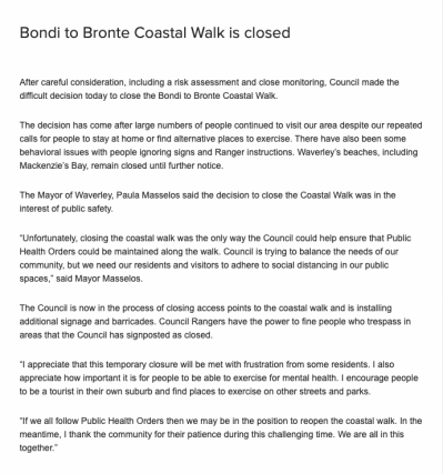 "Waverley Council Press Release: ""Bondi to Bronte Coastal Walk is closed"""